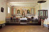 interior of church stock photography | California, Missions, Interior of church, La Purisima Mission, 1787, image id 5-122-29