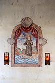 vertical stock photography | California, Missions, St Francis and the fish of the sea, San Antonio Mission, image id 5-174-23