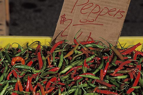 image 5-357-25 California, Benicia, Chile peppers, Farmers Market