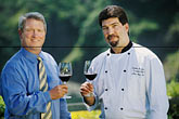 food and people stock photography | California, Mendocino County, Albion River Inn, Mark Bowery, Sommelier, and Stephen Smith, Executive Chef, image id 5-640-29