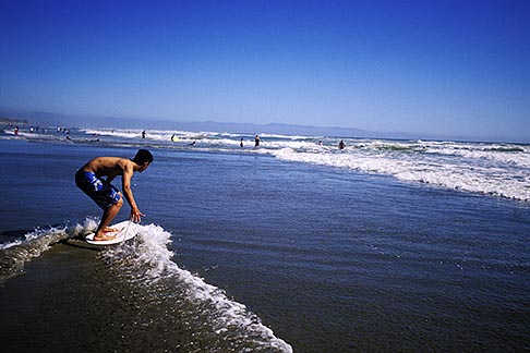 image 5-672-43 California, Santa Cruz County, Pajaro Dunes, Skimboarder