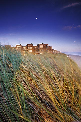 image 5-672-75 California, Santa Cruz County, Pajaro Dunes, Condos and dune grass with full moon