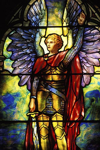image 5-761-1 California, Vallejo, Mare Island, St Peters Chapel, Archangel Zophiel, TIffany window