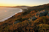 beach stock photography | California, Stinson Beach, View from hillside at sunset, image id 5-791-78