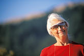 woman with silver hair stock photography | California, Senior woman with sunglasses, direct view, image id 5-792-55
