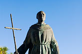 crucifix stock photography | California, Carmel, Statue of Junipero Serra outside Carmel Mission, image id 5-810-1513