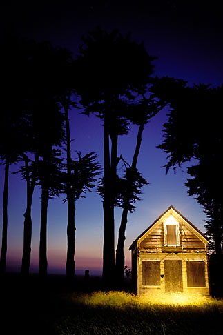 image 6-191-21 California, Mendocino County, Abandoned house at dusk, Point Cabrillo