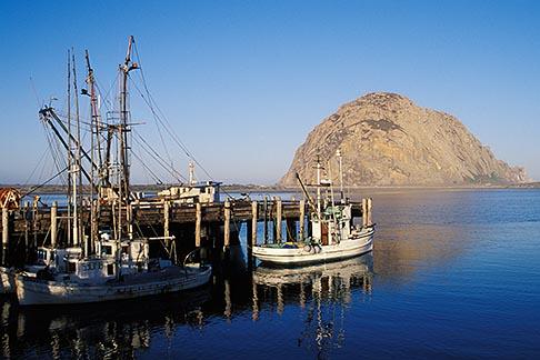 image 6-319-9 California, San Luis Obispo County, Morro Bay harbor, fishing boats and Morro Rock