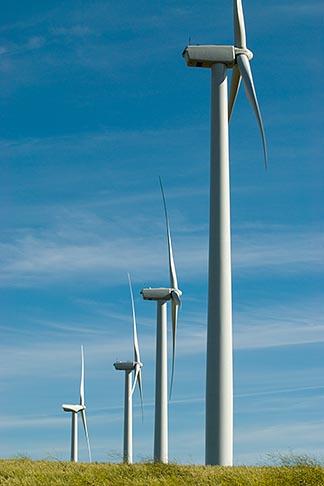 image 6-462-1355 California, Solano County, Wind Turbines on hillside