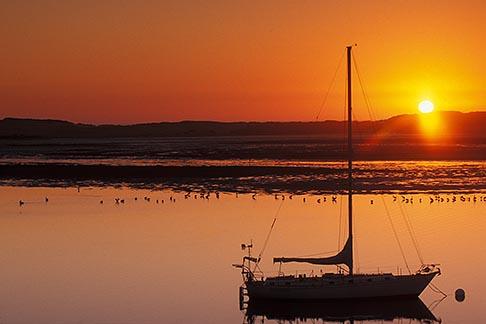 image 6-470-20 California, Morro Bay, Sailboat at sunset