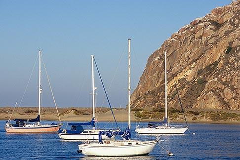 image 6-470-72 California, Morro Bay, Morro Rock and Sailboats