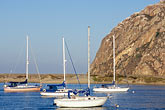 rock stock photography | California, Morro Bay, Morro Rock and Sailboats, image id 6-470-72
