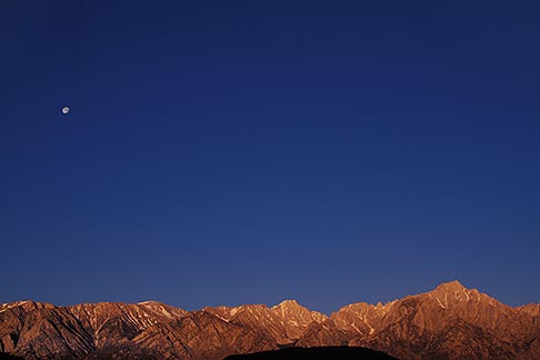 image 7-265-28 California, Sierra Nevada, Moon over Lone Pine Peak
