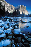 el capitan and merced river in winter stock photography | California, Yosemite National Park, El Capitan and Merced River in winter, image id 7-587-1