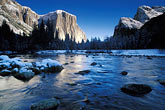 ice stock photography | California, Yosemite National Park, El Capitan and Merced River in winter, image id 7-587-12