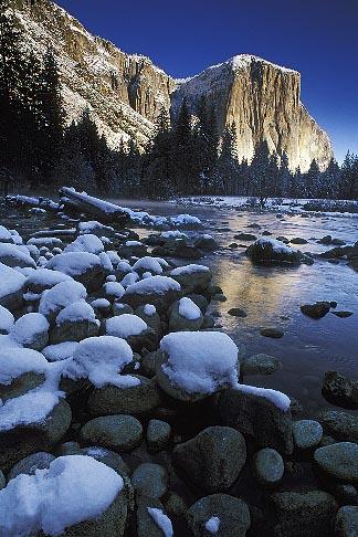 image 7-587-2 Travel Landscape scenic, California, Yosemite National Park, El Capitan and Merced River in winter