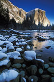 ice stock photography | California, Yosemite National Park, El Capitan and Merced River in winter, image id 7-587-2