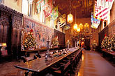 decorated table stock photography | California, Hearst Castle, Refectory at Christmas, image id 9-601-57