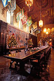 decorated table stock photography | California, Hearst Castle, Refectory at Christmas, image id 9-601-60