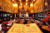 embellishment stock photography | California, Hearst Castle, Assembly Room at Christmas, image id 9-601-68