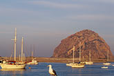 port stock photography | California, San Luis Obispo County, Fishing boats and Morro Rock, Morro Bay, image id 9-609-27