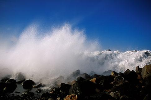 image 9-609-35 California, San Luis Obispo County, Heavy surf, Morro Bay
