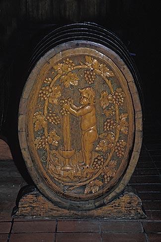 image E-2-3 California, Napa Valley, Carved wooden wine barrel