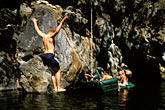 three men stock photography | California, Big Sur, Cliff-diving, image id S4-220-8