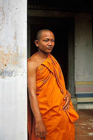 image 0-400-68 Cambodia, Angkor Wat, Buddhist monk