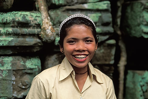 image 0-401-38 Cambodia, Angkor Wat, Cambodian guide, Ta Prohm