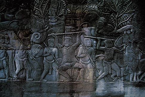 image 0-401-43 Cambodia, Angkor Wat, Carved relief, Angkor Thom