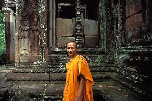 image 0-402-20 Cambodia, Angkor Wat, Buddhist monk