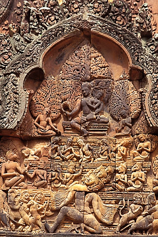 image 0-402-21 Cambodia, Siem Reap, Banteay Srei, carved relief