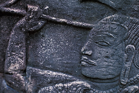 image S3-205-36 Cambodia, Siem Reap, Bayon Temple, relief detail