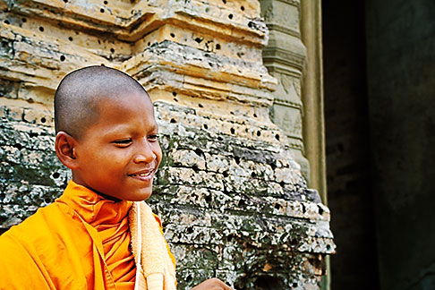 image S3-205-61 Cambodia, Siem Reap, Monk, East Mebon Temple, Angkor Complex