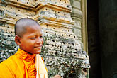 one person stock photography | Cambodia, Siem Reap, Monk, East Mebon Temple, Angkor Complex, image id S3-205-61