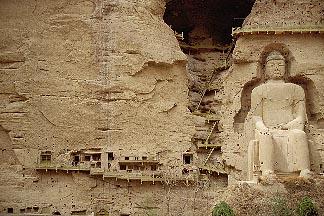 4-132-38  stock photo of China, Gansu Province, Statue of Maitreya Buddha, Bingling si Grottoes