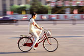 one woman only stock photography | China, Beijing, Bicyclist, image id 4-334-56