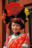 red headdress stock photography | China, Beijing, Woman in traditional costume, Beihai Park, image id 4-354-14