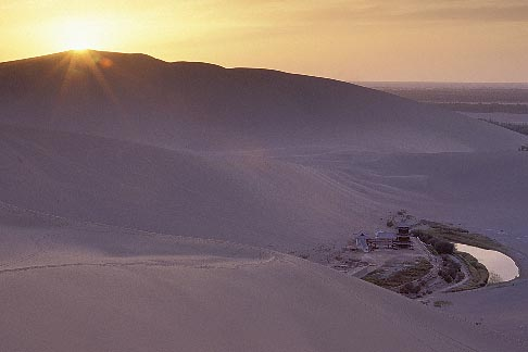 image 4-386-11 China, Dunhuang, Mingsha sand dunes at sunset