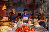three men stock photography | China, Kashgar, Dumpling restaurant, Sunday market, image id 4-413-10
