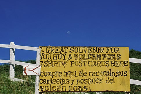 image 8-448-2 Costa Rica, Poas Volcano, Sign and fence