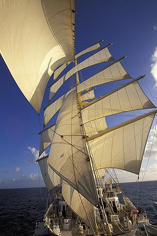 image 3-600-11 Cruises, Clipper Ships, Royal Clipper at full sail from the bowsprit