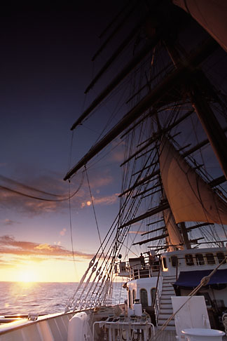 image 3-600-5 Cruises, Clipper Ships, Sunset from the bowsprit, Royal Clipper