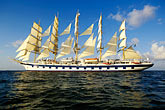 side view stock photography | Cruises, Clipper Ships, Royal Clipper at full sail, image id 3-621-16