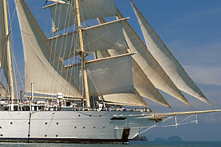 7-549-1  stock photo of Thailand, Phang Na Bay, Star Flyer clipper ship