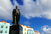 historical district stock photography | Cura�ao, Willemstad, Otrobanda waterfront, statue of Luis Brion, image id 3-431-8