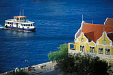 gabled roofs stock photography | Cura�ao, Willemstad, Handelskade, historic buildings, image id 3-433-28