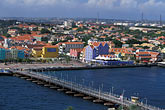 high angle view stock photography | Cura�ao, Willemstad, Otrobando and Queen Emma Bridge, image id 3-435-27