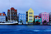 blue stock photography | Cura�ao, Willemstad, Handelskade waterfront, historic buildings, image id 3-436-24